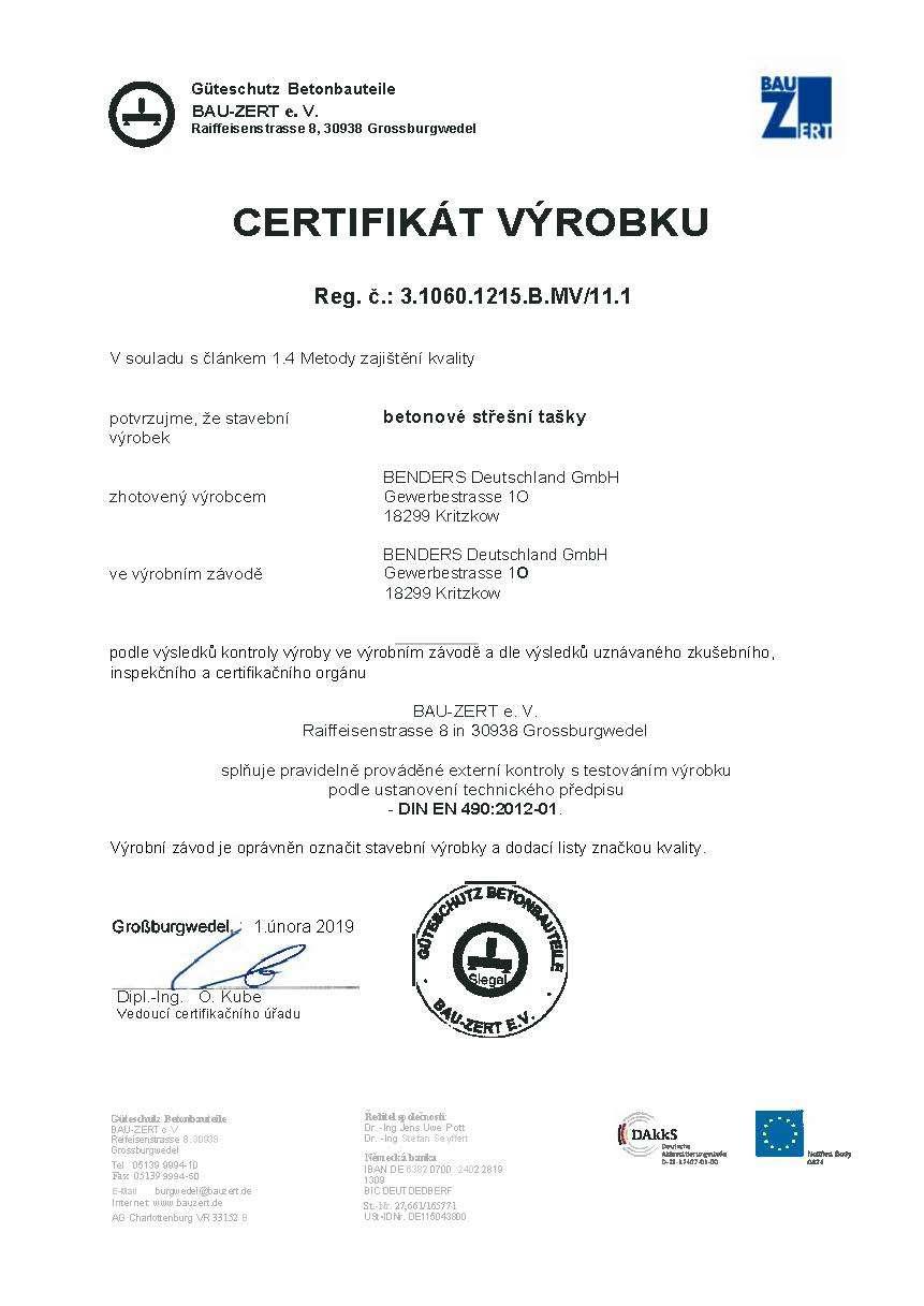 2019 Certifikát betonové střešní tašky - DIN EN 4902012-01 -překlad
