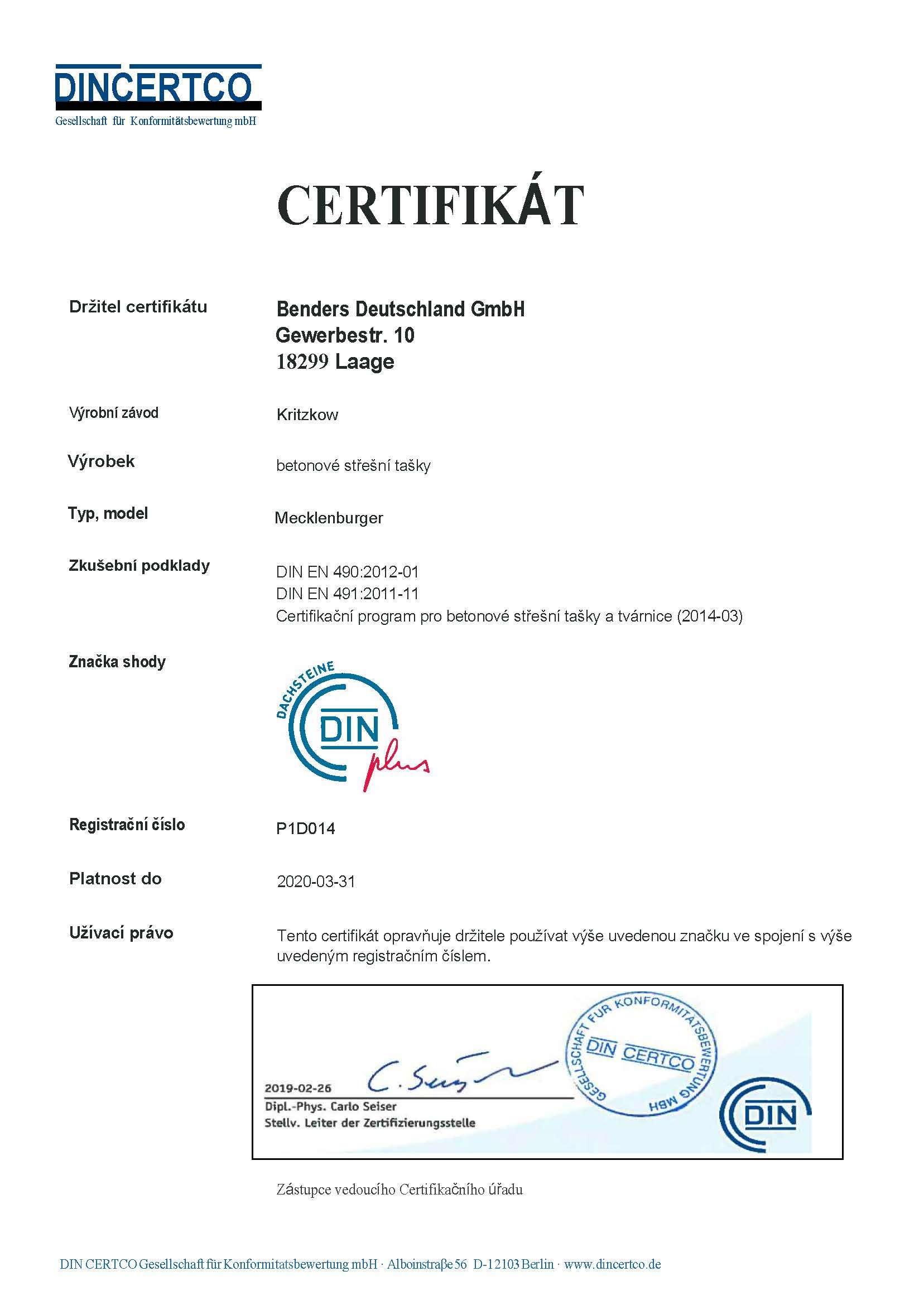 Din Certifikát - DIN -EN 4902012-01 -DIN EN 4912011-11- Mecklenburger -překlad