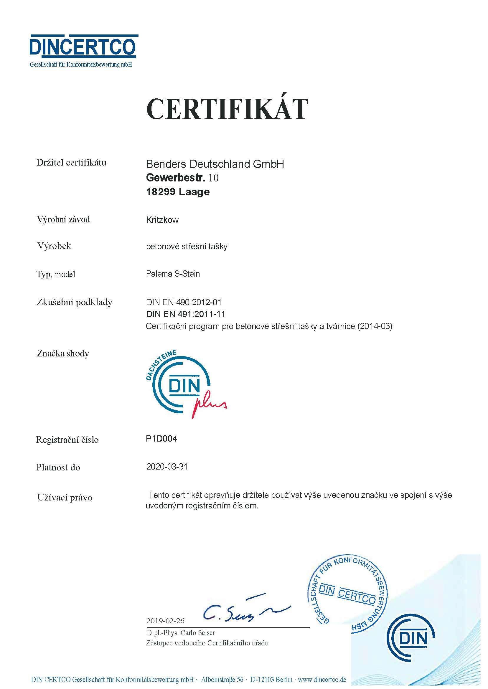 Din Certifikát -DIN- EN 4902012-01 -DIN EN 4912011-11- Palema -překlad