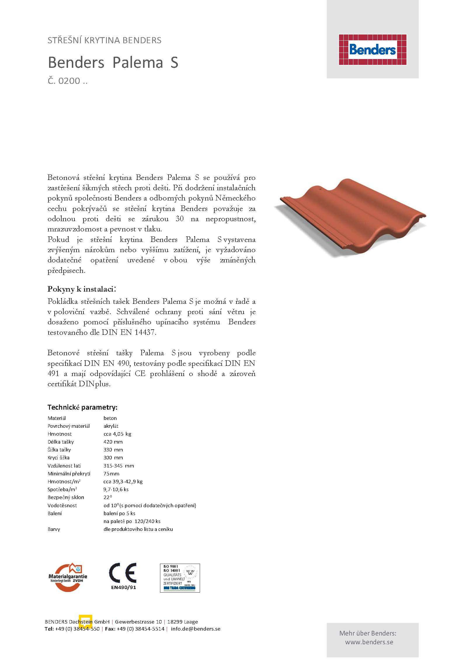 Technický list -0200-Palema-překlad