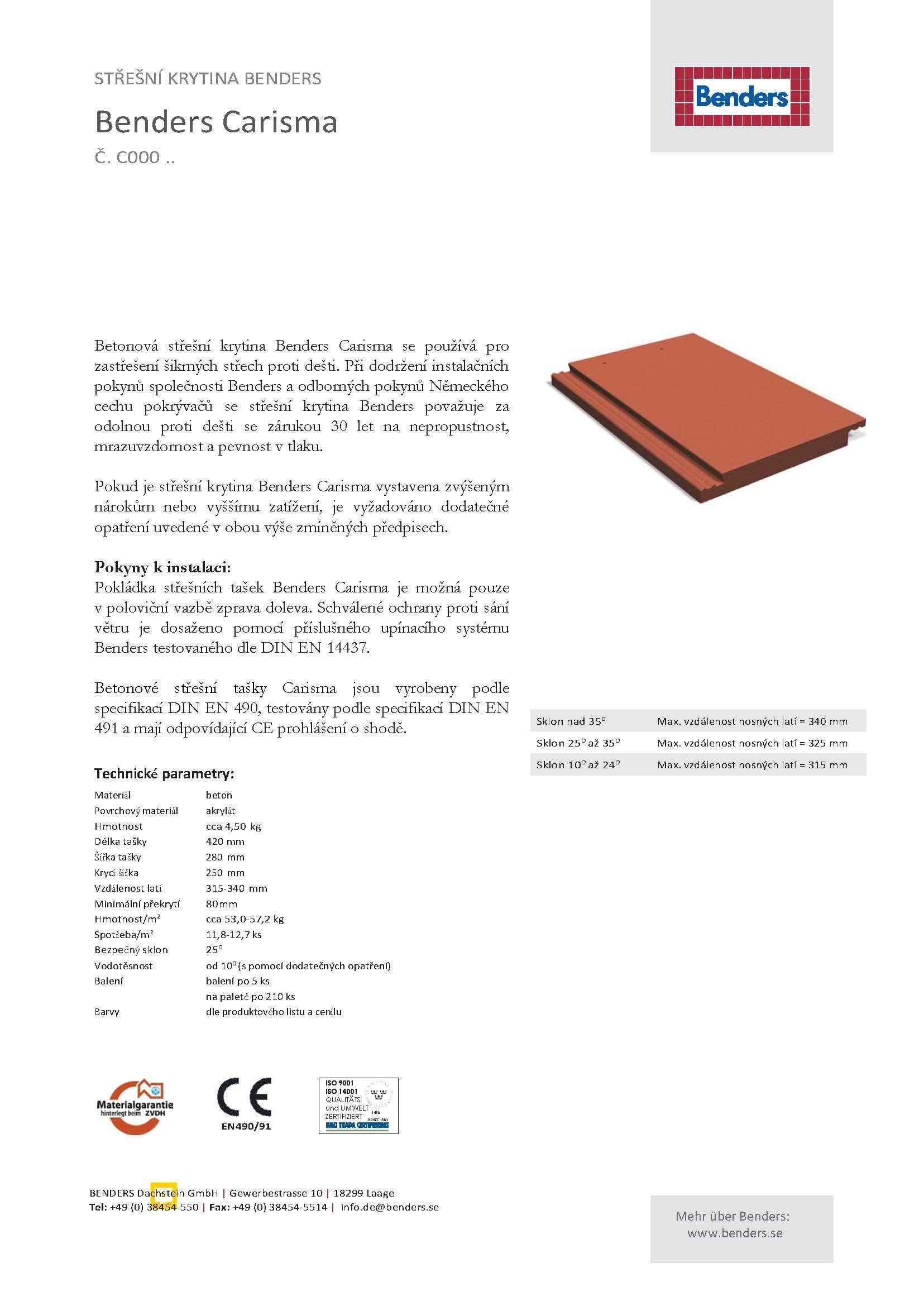 Technický list -c000-Carisma-překlad